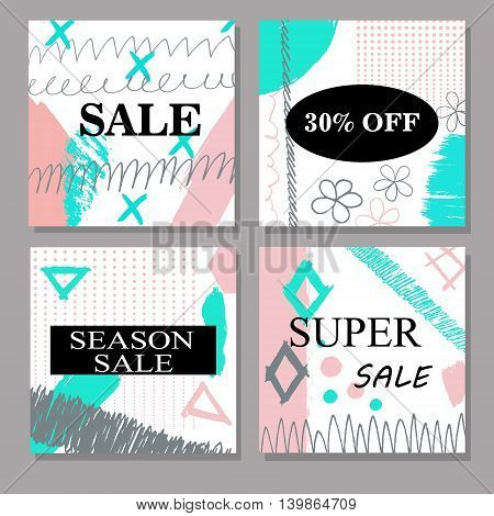Set of creative hand drawn Sale, discount headers, banners, cards, vouchers. Design for seasonal clearance. Cartoon