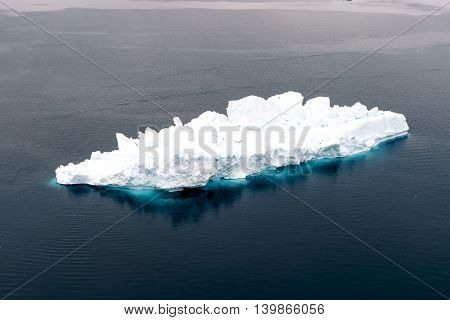 Icebergs are on the arctic ocean in Ilulissat, Greenland