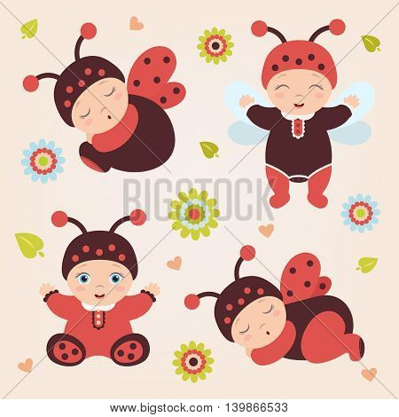 Set of sitting and standing cute happy babies in costume ladybug. Adorable ladybug babies. Flat design.Flat style.