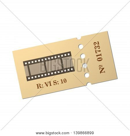 Ticket of flat style, cartoon style, vector illustration. Ticket stub isolated on a background. Retro cinema card.