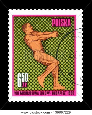 POLAND - CIRCA 1966 : Cancelled postage stamp printed by Poland, that shows Hammer throw.