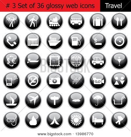 Collection of different icons for using in web design. Set #3. Travel. In my portfolio also available vector version of this picture.