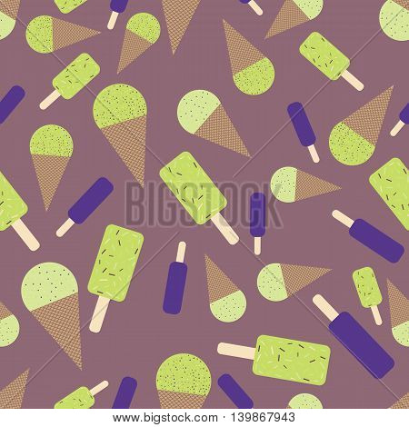 Lime and blueberry icecream seamless pattern. Flat and cute