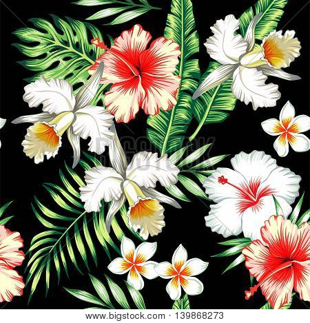 Tropic summer flower hibiscus lily and orchid Seamless vector pattern with palm banana leaf and plants. Composition with flower jungle background. Hand drawn fashion bunch exotic flower wallpaper.
