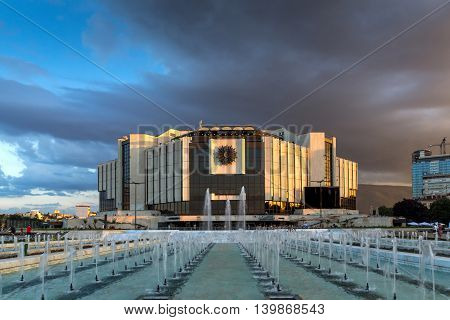 SOFIA, BULGARIA - JULY 3, 2016: Sunset panorama of National Palace of Culture in Sofia, Bulgaria