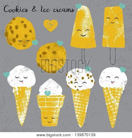 Vector set with ice creams and cookies and hearts in cartoon and grunge style isolated on grey scratched background for textile wallpaper fabric postcard and others