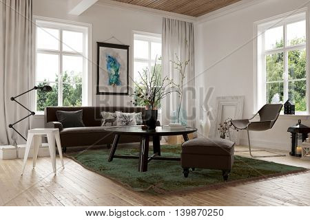 Cozy homely living room interior with a sofa, stools and chairs arranged in the corner surrounded by bright windows looking onto garden greenery, 3d render