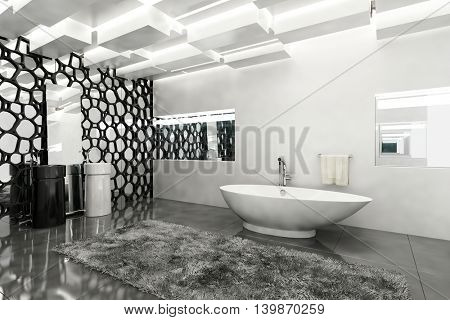 Interior of a monochromatic stylish modern bathroom with grey and white decor with a boat shaped bathtub and geometric screen decoration, 3d rendering