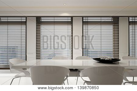 Stylish white dining room suite in a bright home interior with a row of large windows with Venetian blinds in a spacious monochromatic room, 3d rendering
