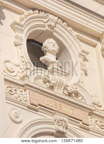 Zurich, Switzerland - 20 July, 2016: Bust of Lessing on the facade of the Zurich Opera House building. Zurich Opera House has been the home of the Zurich Opera since 1891. It also houses the Bernhard-Theater Zurich and the Zurich Ballet.