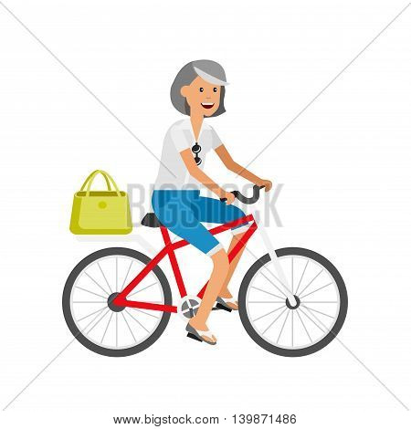 vector detailed character age traveler. Old age retired tourist summer vacation. Old woman riding on a bicycle. Active senior