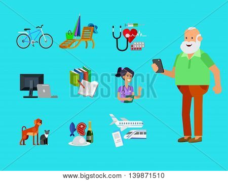 vector detailed character senior, age man and icons. Pension hobbies and interests leisure of pensioner