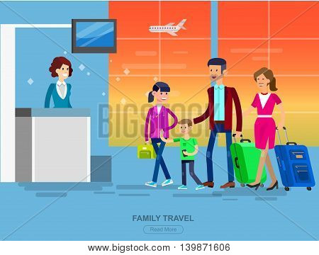 Vector detailed characters people in airport lounge. Family is registered, flat illustration