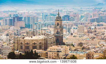 Panorama Of The Cathedral Of Malaga Is A Renaissance Church In The City Of Malaga In Andalusia In Southern Spain.