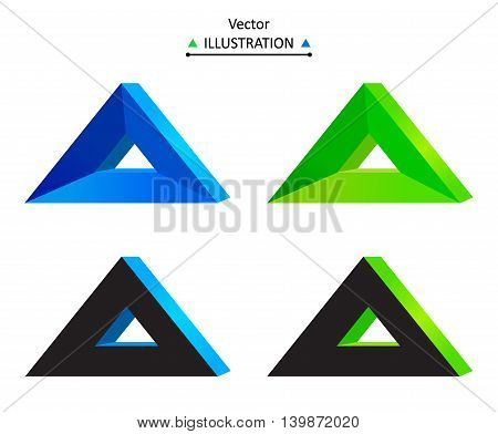 Triangle technology company symbol design set. eps10 vector illustration