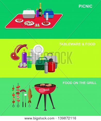 Vector object for picnic or Bbq party. Food and barbeque, summer and grill icons