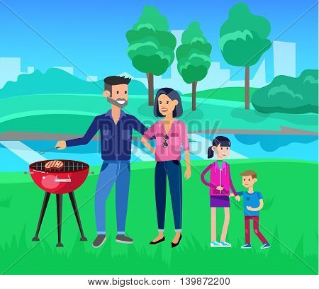 Vector character people on Family picnic or Bbq party. Chef men cooking steaks on grill