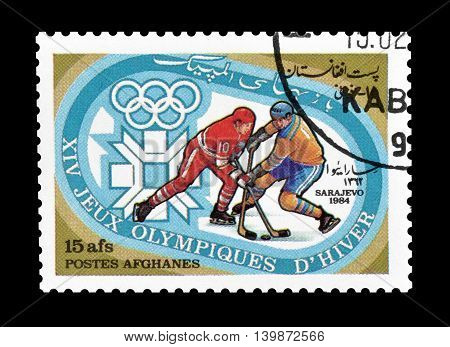 AFGHANISTAN - CIRCA 1984 : Cancelled postage stamp printed by Afghanistan, that shows Ice hockey.