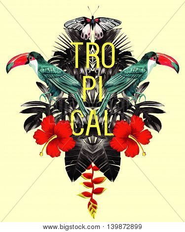 Exotic tropical toucan bird in the jungle palm banana leaves hibiscus flower and butterfly. Illustrator paradise trendy vector. Nature Hawaiian floral summer background wallpaper mirror effect