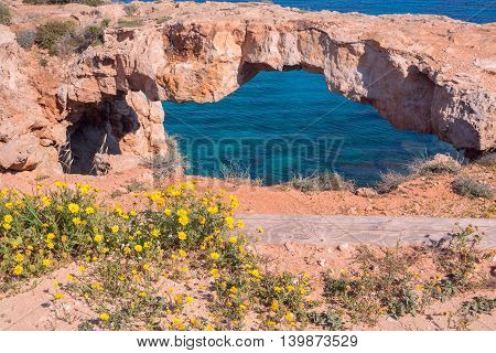 Natural stone bridge over the sea with wild flowers in the foreground a beautiful sunny day. Bridge of sinners Cyprus Cape Greco Cavo Greco.