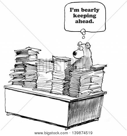 Business cartoon about barely keeping up with the workload.