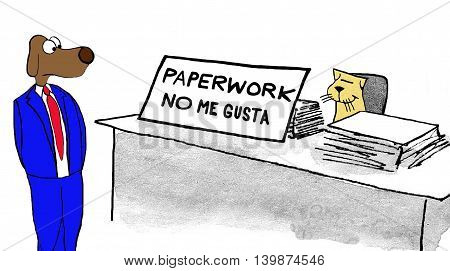 Business cartoon about not liking the workload.