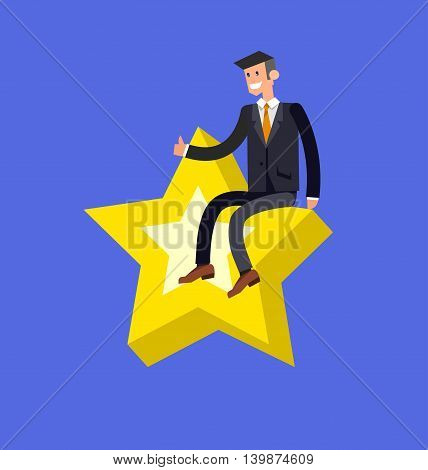 Vector detailed character businessman. Business concept, man moves to success. Leader with golden star, happy winning celebration