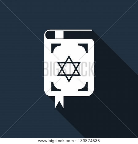 Jewish torah book icon with long shadow. Adobe illustrator
