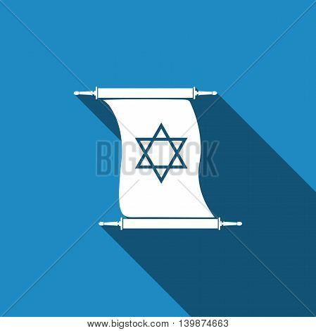 Star of David on scroll icon with long shadow. Adobe illustrator