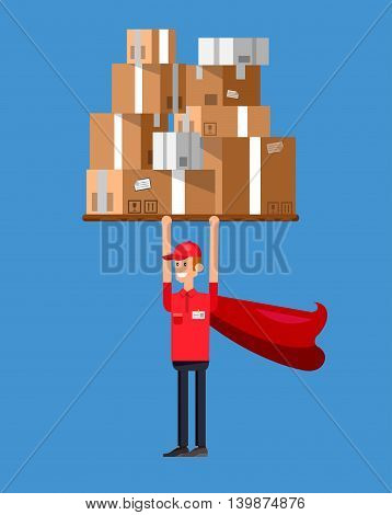 Funny Delivery character man as a superhero holding postal boxes. Vector detailed illustration
