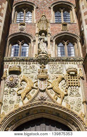 The impressively sculptured gatehouse at St John's College in Cambridge UK.