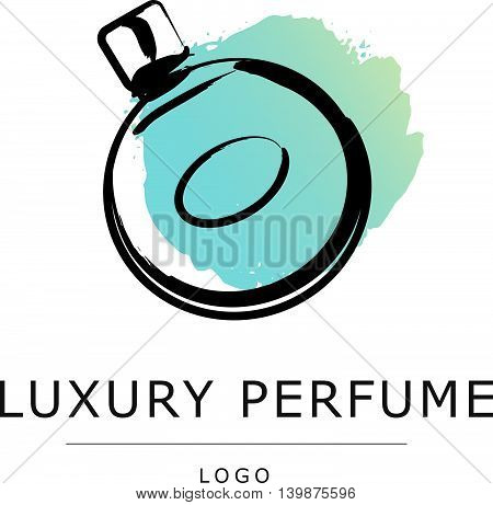 Vector artistic perfume sketch logo isolated on white background. ink drawn. Art gradient design paint drop, spot template for business card, illustration, perfume shop, label, icon, fashion magazine.