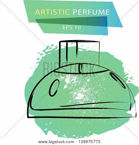 Vector artistic perfume sketch isolated on white background. ink drawn. Art gradient design paint drop, spot template for package, illustration, perfume shop, card, logo, icon, fashion magazine.