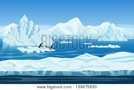 Cartoon nature winter arctic ice landscape with iceberg, snow mountains hills and penguins. Vector game style illustration. Background for games