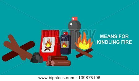 Hiking and camping object. Means for kindling fire. Vector flat illustration.
