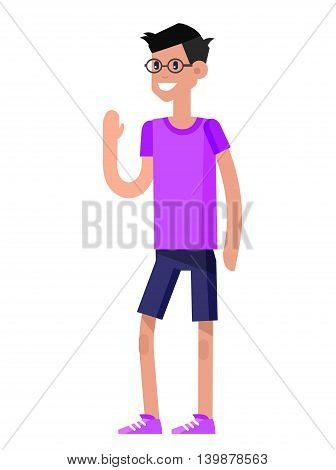 Vector detailed character flat design child student. Primary or elementary school child character. Vector child character isolated on white background