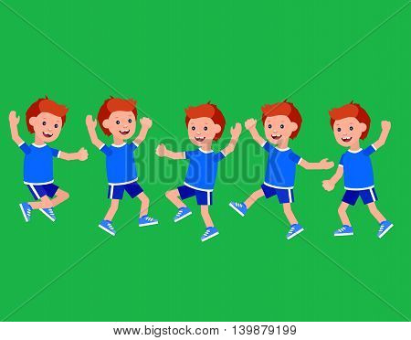 Cute vector character child Boy in different motion. Cheerful child