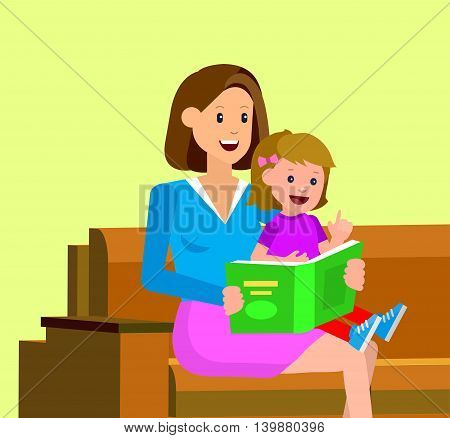 Cute vector character child with mother reading book. Education and child development. Banner for the kindergarten or children club
