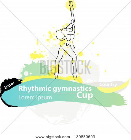 Vector artistic Rhythmic Gymnastic clubs sketch banner. Hand drawn brush stroke paint drops, spot, sketching for graphic designa