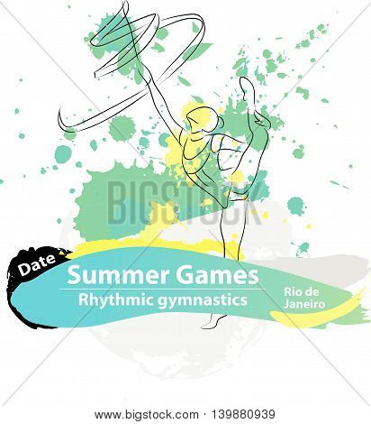 Vector artistic Rhythmic Gymnastic ribbon sketch. Hand drawn brush stroke paint drops template for summer game logo, graphic design, poster, banner, flayer, placard, competition. Art grange style.