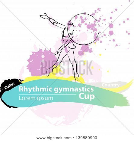 Vector artistic Rhythmic Gymnastic hoop sketch banner. Hand drawn brush stroke paint drops, spot, sketching for graphic design, poster, banner, flayer, placard, card, competition. Art grange style.