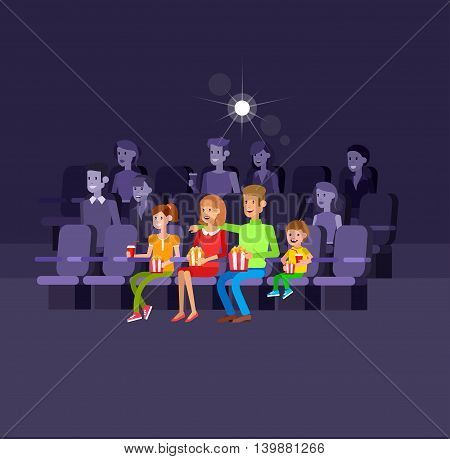 Family movie poster or banner template, popcorn, 3D glasses, concept banner. Cinema hall. Rest with family in the cinema