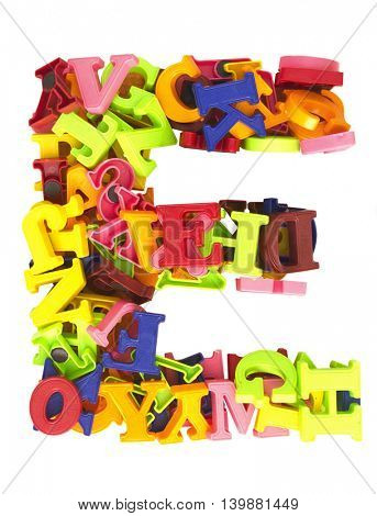 the letter E made from magnetic letters