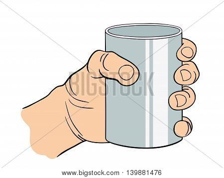 Hand with bent fingers gestures. Vector illustration of linear black and white. Template of the gesture of the hand which holds the glass.