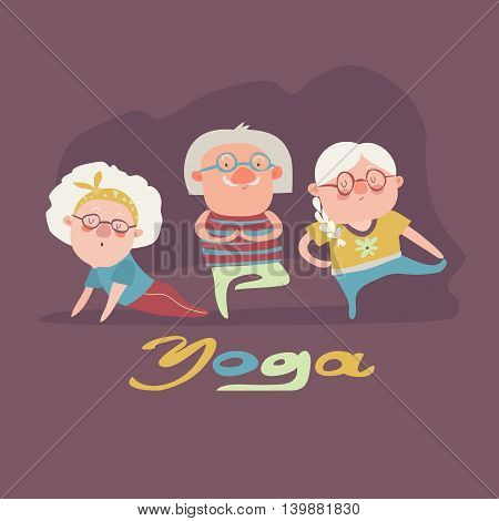 A vector illustration of senior people doing yoga exercise