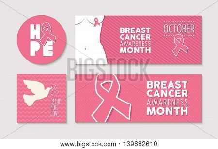 Banners And Labels Set For Breast Cancer Awareness
