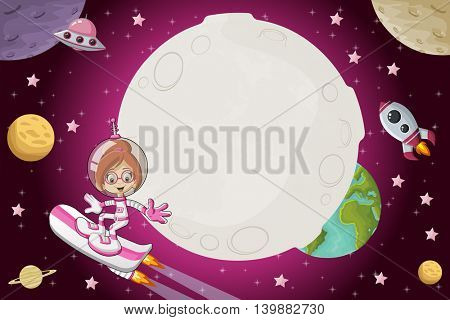 Astronaut cartoon girl flying in the space with a futuristic rocket skate board.