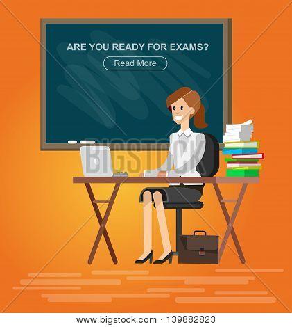 Woman teacher tutor at the desk in the classroom. Flat illustration