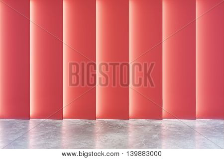 Empty interior with abstract red wall and concrete floor. 3D Rendering