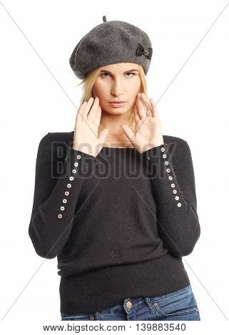 Portrait Of Woman On White Background Wearing Beret